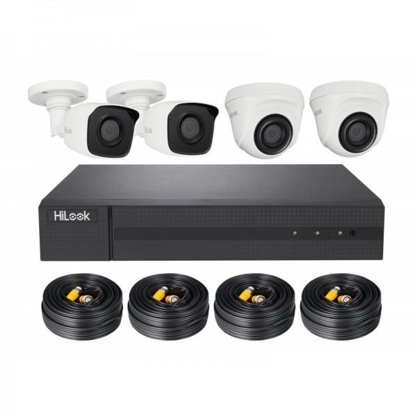 HiLook TVI Komplettsystem mit 4 Außenkameras (2x Komplettkamera, 2x Domekamera), Rekorder, inkl. Kab