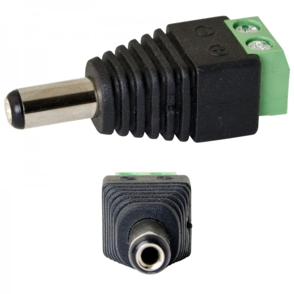 Strom-Adapter, DC-Adapter, DC-Stecker 2.1mm/5.5mm auf Lüsterklemme 2-pol. (männlich), untrennbar Kab