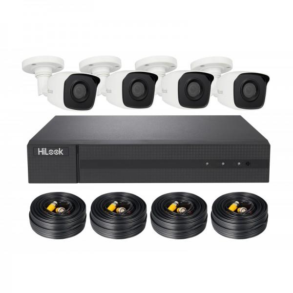 HiLook TVI Komplettsystem mit 4 Außenkameras, Rekorder, inkl. Kabel Video/Strom