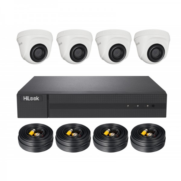 HiLook TVI Komplettsystem mit 4 Domekameras, Rekorder, inkl. Kabel Video/Strom